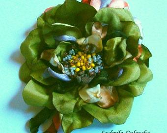 Handmade moss green satin flower brooch, flower pin