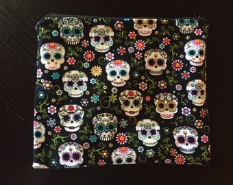 Sugar Skull Cosmetic Bag/ black vinyl lining
