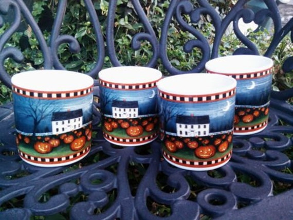Pumpkin hollow david carter brown set of four mugs coffee cups for Where can i buy canape cups