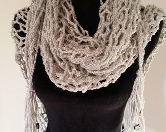 Shawl - Boho Scarf, Wedding Shawl, Crochet Wrap, Crochet Shawl, Women Scarves, Pashmina Scarf, Bikini coverup,  Handmade Shrug