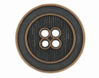 Metal Buttons - Parallel Lines Antique Copper Metal Hole Buttons - 23mm - 7/8 inch - 6 pcs