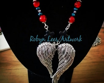 Double Wing Silver Heart Necklace with Red, Black and Blue Beads and Silver Heart Beads