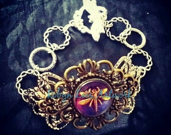 Purple Czech Glass Filigree Dragonfly Bracelet in Silver and Bronze with Dragonfly Toggle Clasp and Large Links