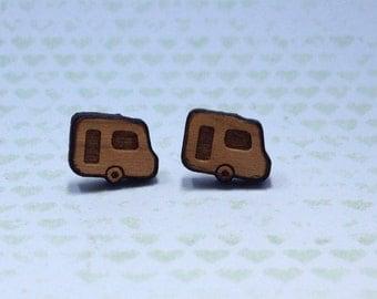 Wooden Camping Earrings - 1x pair of cherry wood earrings wih caravan design - 11mm wooden camper on surgical steel post - camping gift