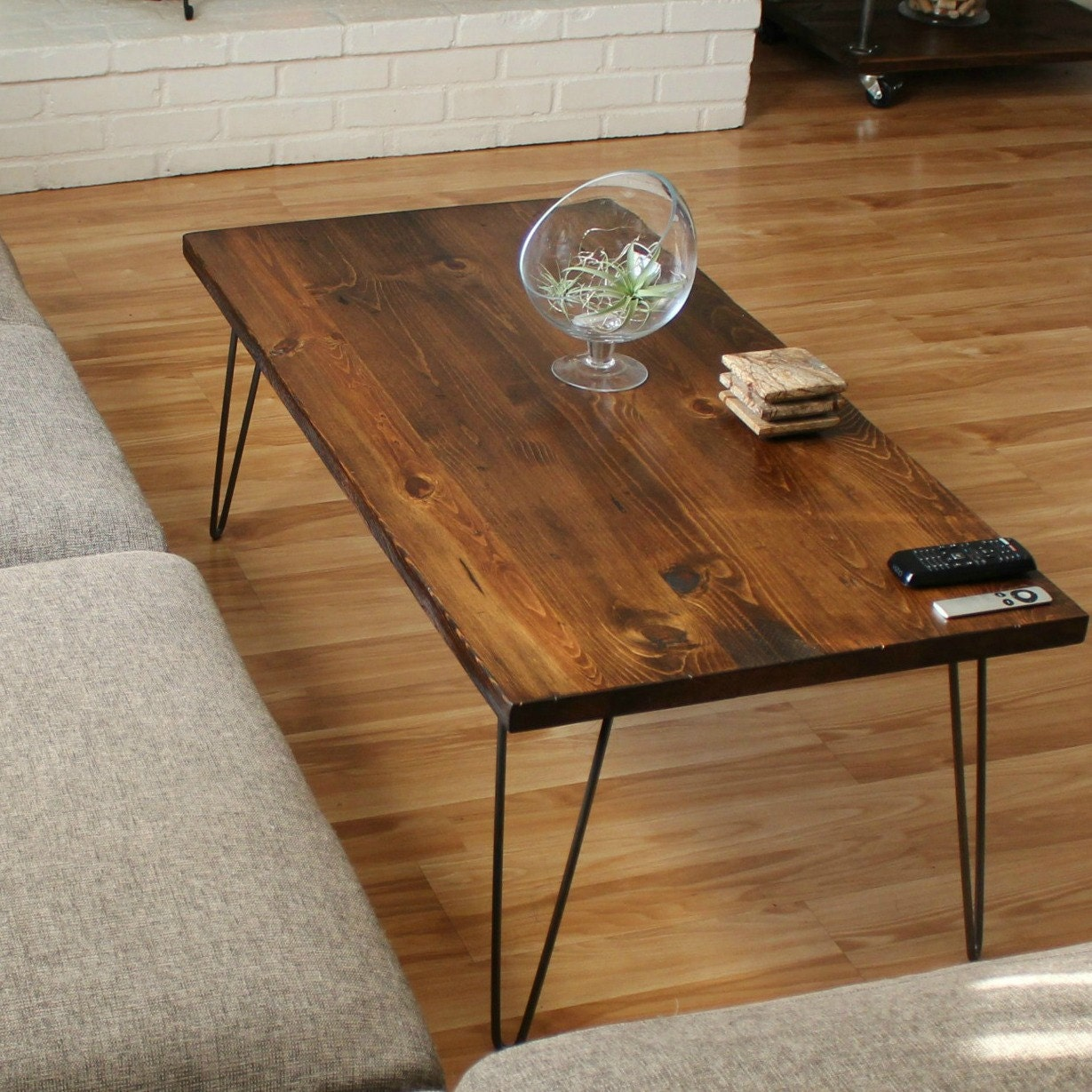 Young Industrial Coffee Table: Wood Coffee Table With Hairpin Legs Industrial Coffee Table