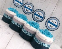 """Set of 4 - Blue and White Camouflage Mini Diaper Cake Centerpieces with """"It's A Boy"""" Cake Toppers/Baby Shower Centerpieces/Balloon Weights"""