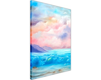 Spring Beach and Waves Framed Canvas Wall Art Pictures Oil Painting Re-print Home Decoration Prints Portrait 18 mm thick frame