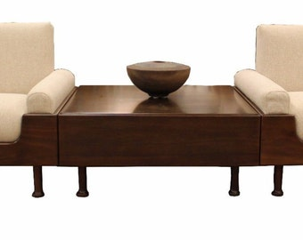 Mid Century Modern Brazilian Rosewood Pair of Lounge Chairs & Coffee Table