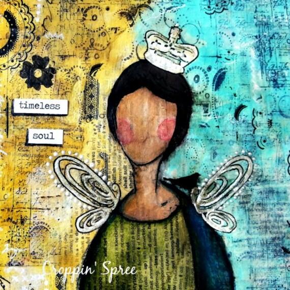 "ART PRINT MINI (8"" X 8""): Timeless Soul. Mixed Media Art."
