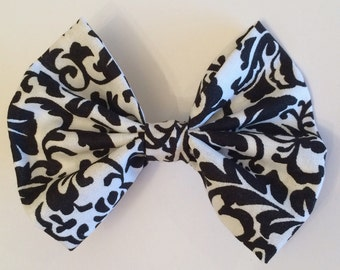 Damask Hair Bow, Black and White Damask Print Fabric Hair Bow