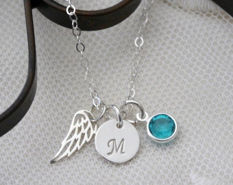 Sterling Silver Angel Wing Necklace, Angel Wing Initial Necklace, Initial Birthstone Necklace, Memorial Gifts, Dainty Delicate, Minimalist