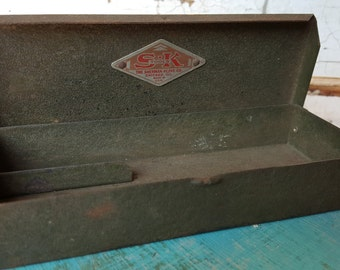 Metal Storage Box Industrial S K Tools Chicago Ill. Small Socket Wrench Box Made in USA