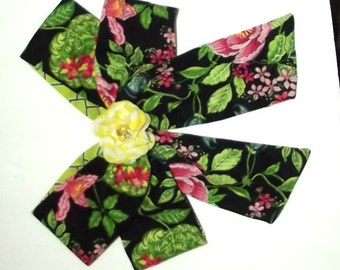 Becky Bows ~OOAK Barrette Hand crafted huge scarf BIG hair bow Women or Girls Vera Bradley black green roses