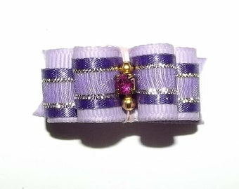 """Puppy Bows ~7/8"""" double looped show bow  pet hair bows YORKIE barrette or latex bands~USA seller"""