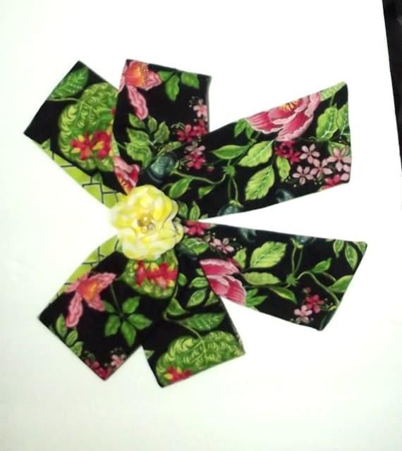 Becky Bows ~OOAK Barrette Hand crafted huge scarf BIG hair bow Women or Girls Vera Bradley black green roses
