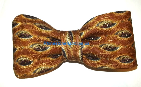 Becky Bows ~OOAK Barrette Hand crafted huge necktie BIG hair bow Women or Girls giant brown gold tiger eye