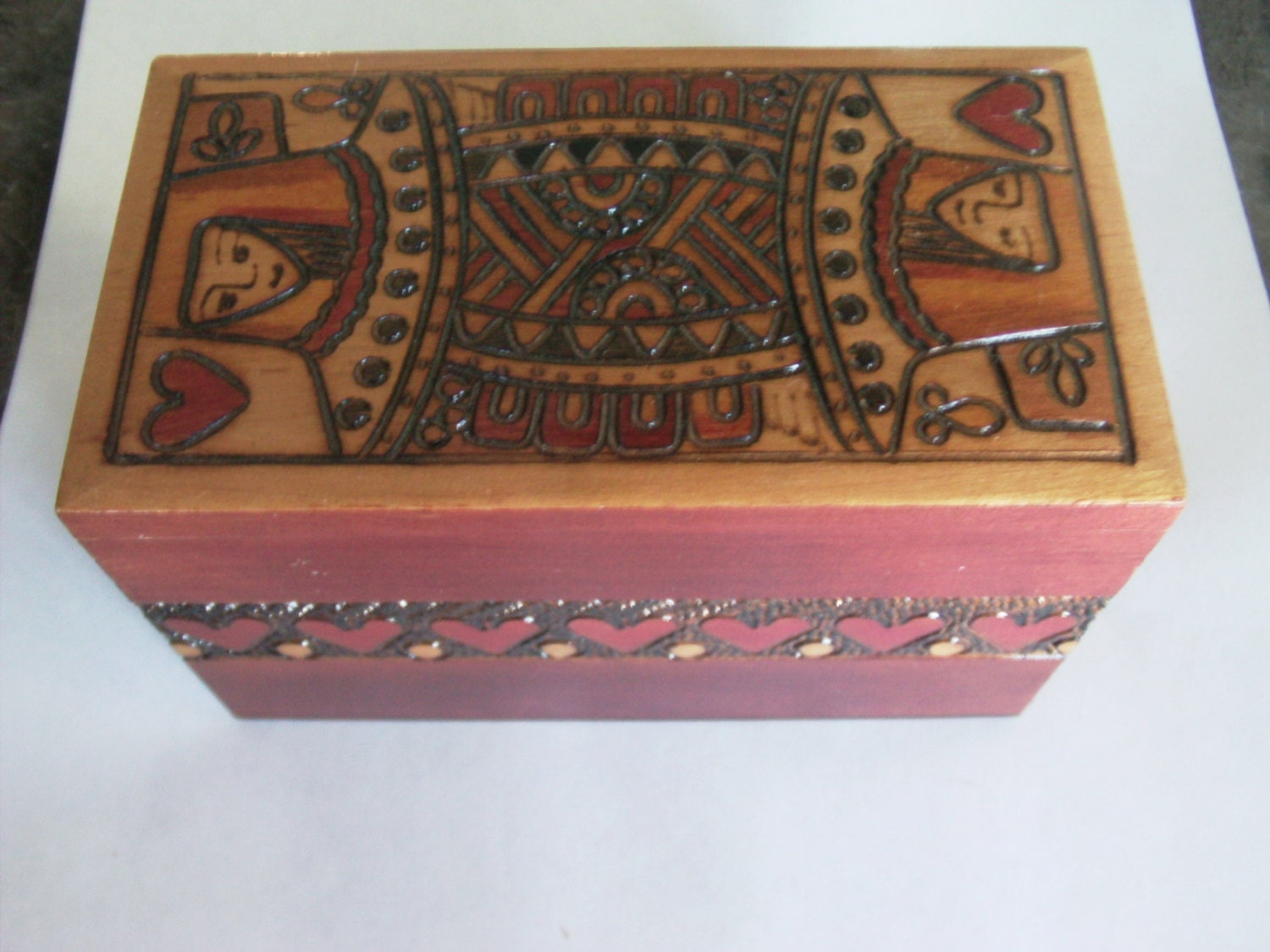 Vintage Wood Box Playing Card Box Card Box Playing Card
