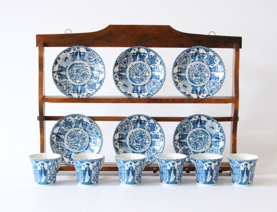Vintage Wall Shelf Kitchen Plates Cups Saucer Delft Ware
