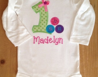 ON SALE Cute as a Button Birthday Shirt or Baby Bodysuit