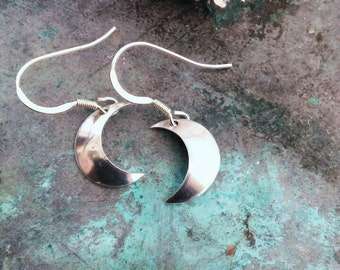 Crescent Moon Earrings Handmade In Sterling Silver, Goddess, Pagan, Starseed, Wiccan.