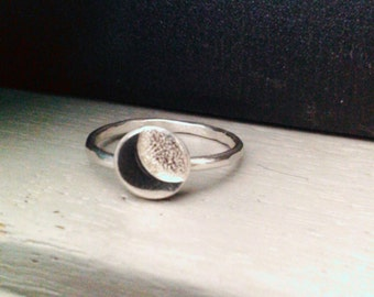 Crescent Moon Ring Handmade in Sterling Silver.Celestial Moon Ring, Perfect for Pagans Wiccans and Moon Lovers!