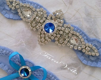 Wedding garter set / Bridal garter set / Rhinestone Garter/ wedding blue garters / bridal blue garter/ lace garter / Vintage Garter