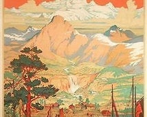 Vintage Norway Land of The Midnight Sun Tourism Poster A3 Print