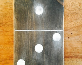 Distressed Hand Painted Black and White Wooden Dominoes