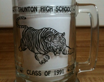 Vintage Taunton High School Graduation Mug, Clear Glass, Taunton Tigers, Class Of 1991, Taunton Ma, Beer Mug, Beer Stein, Taunton Tigers Mug