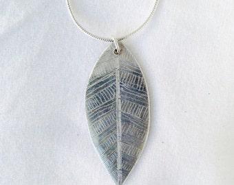 Handmade Etched Leaf Necklace