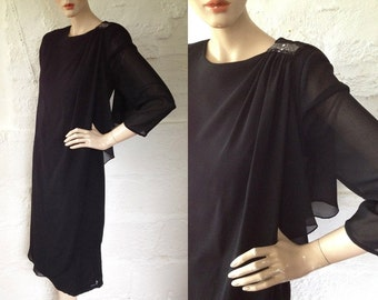 1980s 'Parigi' Jewelled LIttle Black Dress / 80s Little Black Dress / Vintage Black Evening  Dress / Size UK 8-10