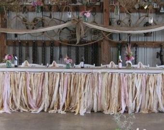 Wedding Table Skirts - Table Skirt Natural Cotton & Linen Table Skirts, ribbon and lace table skirts