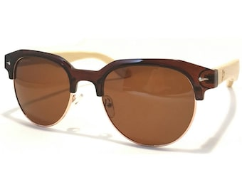 Habibe Brown Bamboo Half Frame Sunglasses