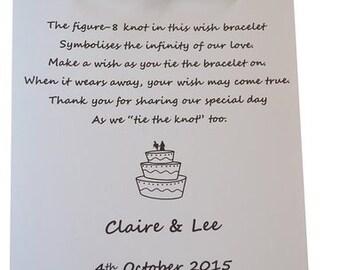 Personalised Wedding Wish Bracelets x 30