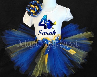 Finding Dory Tutu Set, Finding Dory Birthday Tutu, Dory Birthday, Personalized Tutu, Birthday Tutu, Tutu Set, Personalized Birthday Tutu