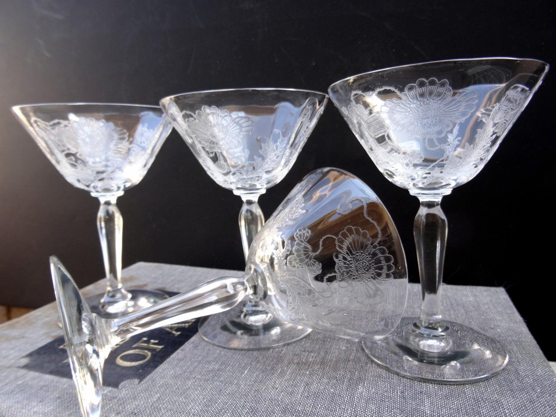 vintage 4 needle etched champagne coupe glasses floral violet. Black Bedroom Furniture Sets. Home Design Ideas