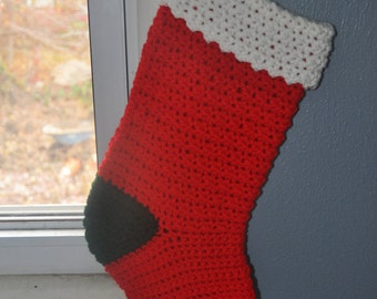 Christmas Stocking, Hand Made Crochet, Holiday Ornament, Xmas Gift