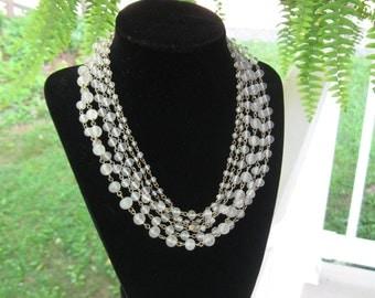 Vintage 50's 60's Glass Six Strand Choker Necklace Stunning!!