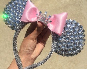 Diamond Mouse Ears w/ Bow & Tiny Tiara