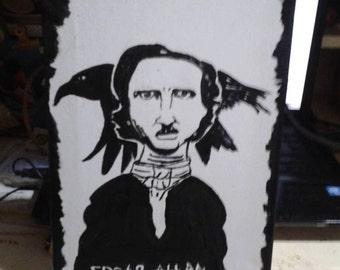 The Raven Edgar Allan Poe portrait paint