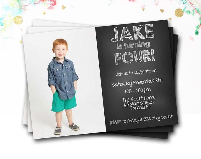 Chalkboard Birthday Invitation, Photo Invitation, Chalkboard Invitation, Boy Invitation, First Birthday, DIY Printable