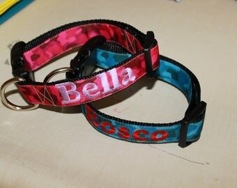 "1"" wide Plastic Buckle Collars with Embroidery"