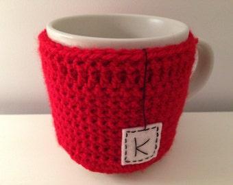 Personalised Initial Handmade Crocheted Mug Cozy