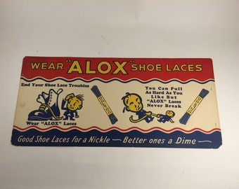 1930's Alox Cardboard Sign.  Vintage Advertising Shoes.
