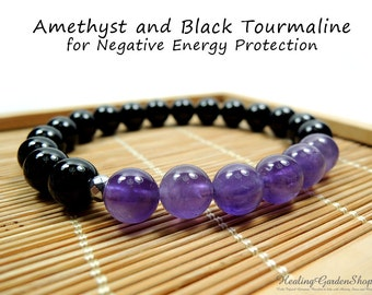 Amethyst and Black Tourmaline Bracelet // Stress Relief // Negative Energy Protection // Reiki Jewelry // Healing Garden Shop
