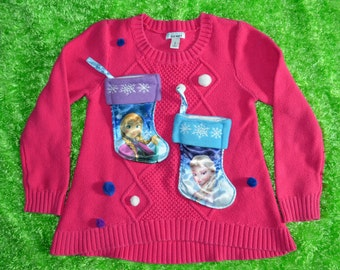 Girls M 8 Ugly Christmas Sweater, frozen, elsa, anna, pink