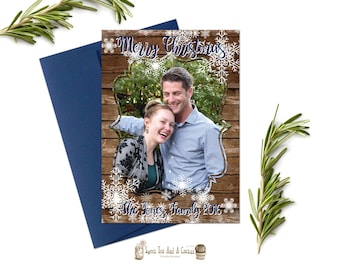 Rustic Christmas Photo Card Rustic Greeting Holiday Cards Wood Snowflake Winter Printable Digital File or Prints with Free Shipping Family