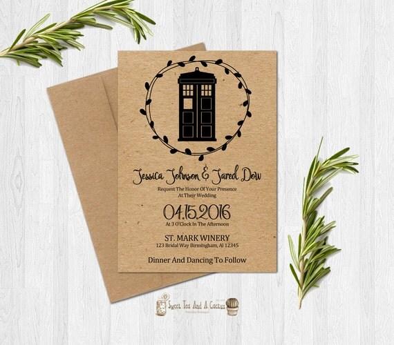 doctor who wedding invitation printable kraft paper custom digital