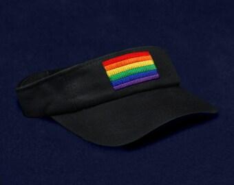 12 Rectangle Rainbow Visors In Black in a Bag (12 Visors) (VI-RB3)