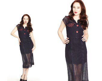 Vintage 1950s or 1960s Navy Lace Shirt Dress with Red Trim XS S